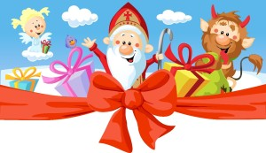 Random image: Saint Nicholas, devil and angel - vector illustration isolated on white background